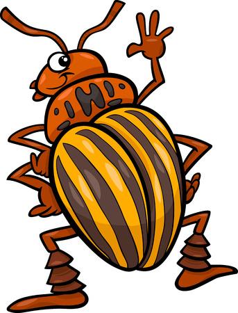 escarabajo: Ilustración de dibujos animados divertido de Colorado Insect escarabajo de la papa de caracteres Vectores