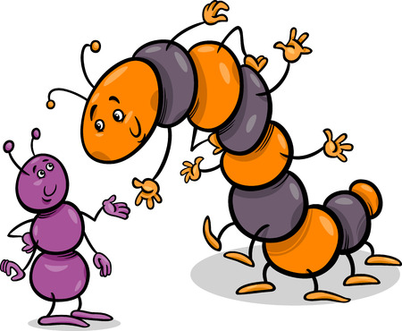 Cartoon Illustration of Ant and Caterpillar or Millipede Insects Characters Vector