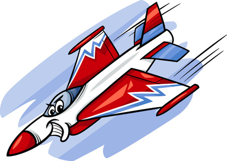 military aircraft: Cartoon Illustration of Funny Jet Fighter Plane Comic Mascot Character
