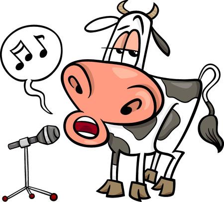 vaca caricatura: Ilustraci�n de dibujos animados divertido personaje Vaca Canto