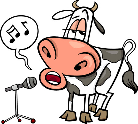 Cartoon Illustration of Funny Singing Cow Character Illustration