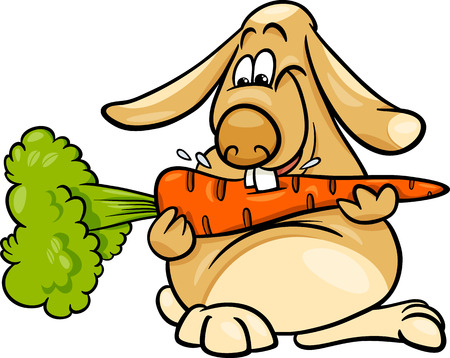 lop: Cartoon Illustration of Cute Lop Eared Rabbit with Carrot
