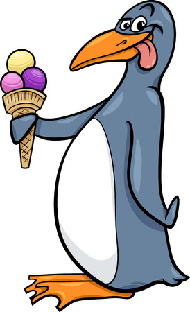 flippers: Cartoon Illustration of Funny Penguin with Ice Cream