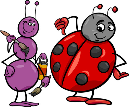 Cartoon Illustration of Ant and Ladybug Insects Characters Vector