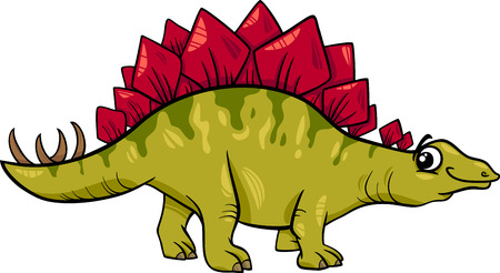 stegosaurus: Cartoon Illustration of Stegosaurus Prehistoric Dinosaur Illustration
