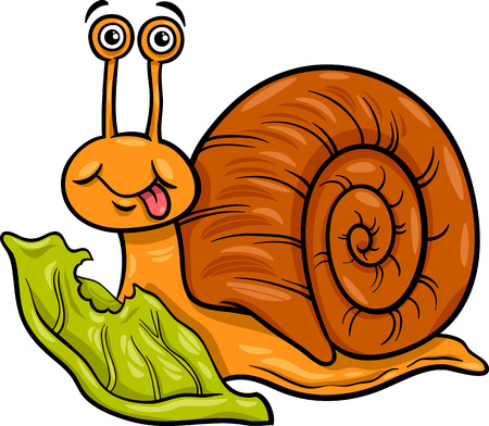 Cartoon Illustration of Funny Snail Mollusk with Lettuce Leaf