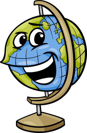 Cartoon Illustration of Funny Globe Object Comic Character Vector