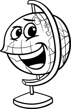 Black and White Cartoon Illustration of Funny Globe Object Character for Coloring Book Vector