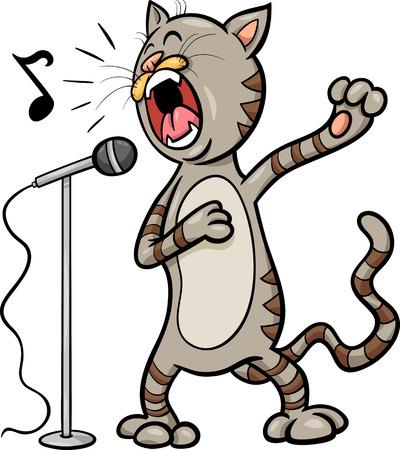 funny cat: Cartoon Illustration of Funny Singing Cat Character
