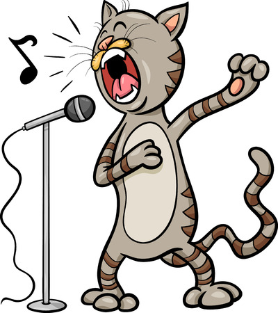 Cartoon Illustration of Funny Singing Cat Character