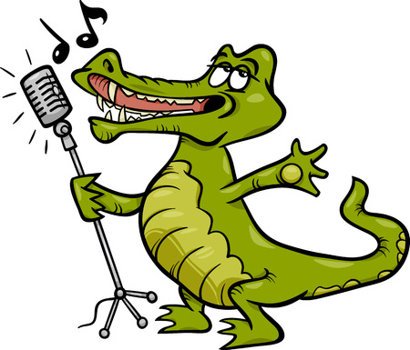 Cartoon Illustration of Funny Singing Crocodile Character