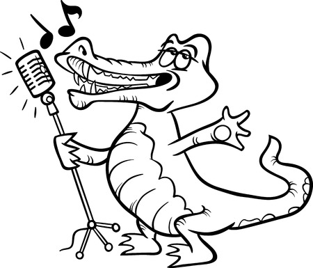 the vocalist: Black and White Cartoon Illustration of Funny Singing Crocodile Character for Coloring Book