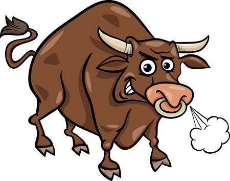 Cartoon Illustration of Funny Farm Bull Animal Illustration