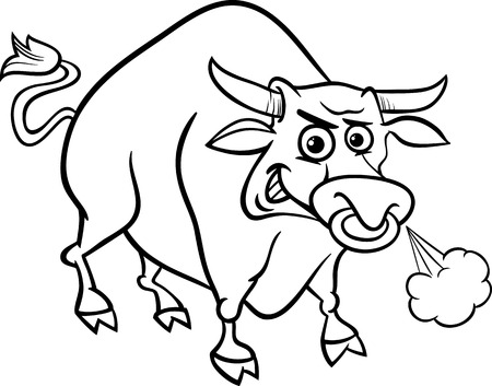 angry bull: Black and White Cartoon Illustration of Funny Farm Bull Animal for Coloring Book