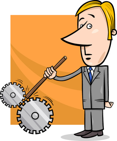 spoil: Concept Cartoon Illustration of Saboteur Man or Businessman putting stick in Cogs to Spoil a Machine