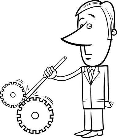 destroy: Black and White Concept Cartoon Illustration of Saboteur Man or Businessman putting stick in Cogs to Spoil a Machine