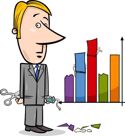 mislead: Concept Cartoon Illustration of Man or Businessman Handling or Missleading Graph Data