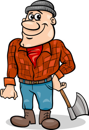 Cartoon Illustration of Lumberjack Character from Little Red Riding Hood Fairy Tale Vector