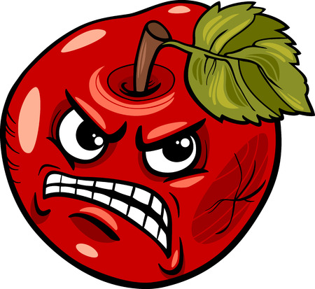 Cartoon Humor Concept Illustration of Bad Apple Saying or Proverb Vector