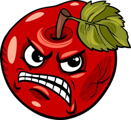 manzana caricatura: Cartoon Humor ilustración del concepto de Bad Apple Decir o Proverbio Vectores