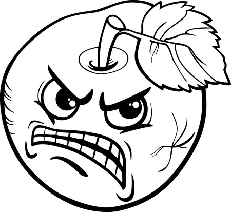antisocial: Black and White Cartoon Humor Concept Illustration of Bad Apple Saying or Proverb for Coloring Book