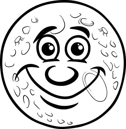 Blanco y negro de dibujos animados Humor ilustración del concepto del hombre en la luna Decir o proverbio para Coloring Book