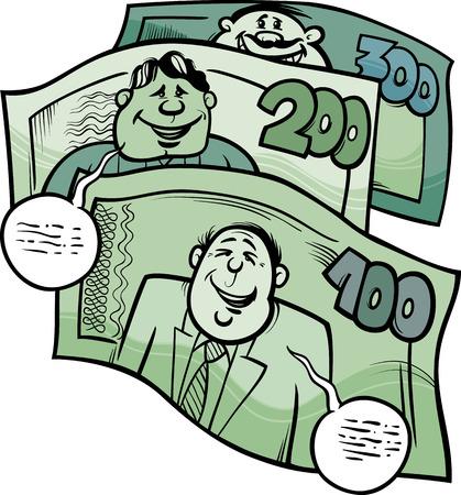 conversa: Cartoon Humor ilustraci�n del concepto de Money Talks decir o Proverbio