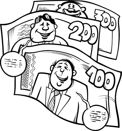 bank book: Black and White Cartoon Humor Concept Illustration of Money Talks Saying or Proverb for Coloring Book Illustration