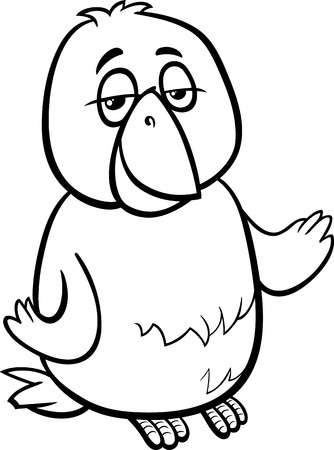 canary bird: Black and White Cartoon Illustration of Funny Canary Bird Character for Coloring Book