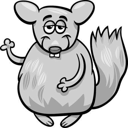 Cartoon Illustration of Funny Chinchilla Animal Character Vector