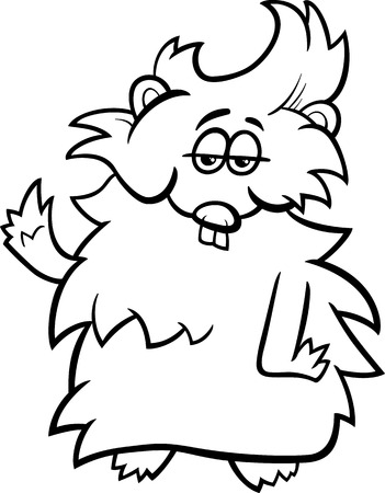 guinea pig: Black and White Cartoon Illustration of Funny Guinea Pig Character for Coloring Book