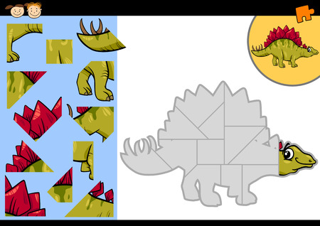 stegosaurus: Cartoon Illustration of Education Jigsaw Puzzle Game for Preschool Children with Funny Stegosaurus Dinosaur Character
