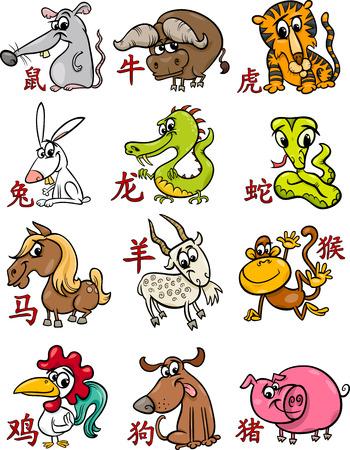 cabra: Ilustración de dibujos animados de todos los signos del zodiaco chino Horóscopo Set