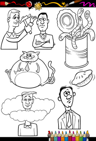 proverbs: Coloring Book or Page Cartoon Illustration Set of Black and White Proverbs or Sayings for Children