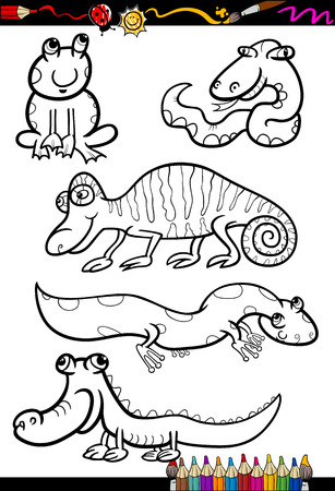 Coloring Book or Page Cartoon Illustration Set of Black and White Reptiles and Amphibian Animals Characters for Children Vector