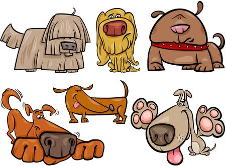 귀여운 개 또는 강아지 애완 동물 컬렉션의 만화 그림
