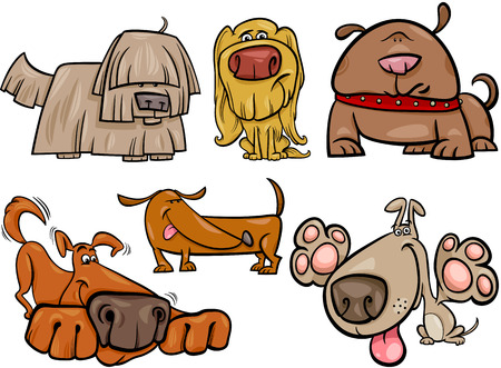 Cartoon Illustration of Cute Dogs or Puppies Pets Collection