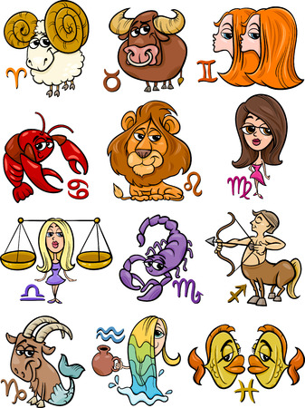 the centaur: Cartoon Illustration of All Horoscope Zodiac Signs Set Illustration