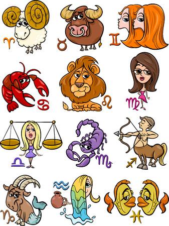 Ilustración de dibujos animados de todos Horoscope Zodiac Signs Set
