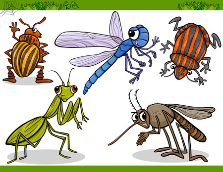 Cartoon Illustration of Happy Insects or Bugs Set like Dragonfly or Mosquito and Mantis Vector