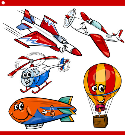 jet fighter: Cartoon Illustration of Aircraft or Air Vehicles like Planes and Balloons Comic Characters Set for Children