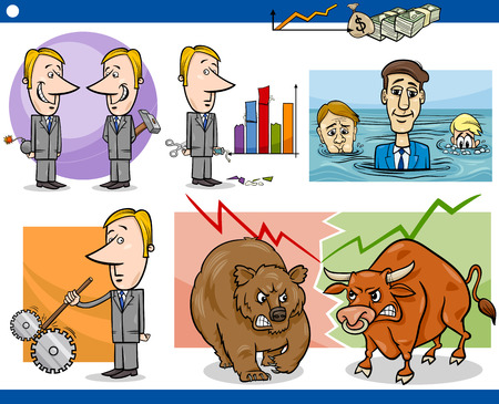 sabotage: Concept Cartoon Illustration Set of Funny Men or Businessmen Characters and Business Metaphors