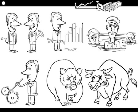hypocritical: Black and White Concept Cartoon Illustration Set of Funny Men or Businessmen Characters and Business Metaphors Illustration