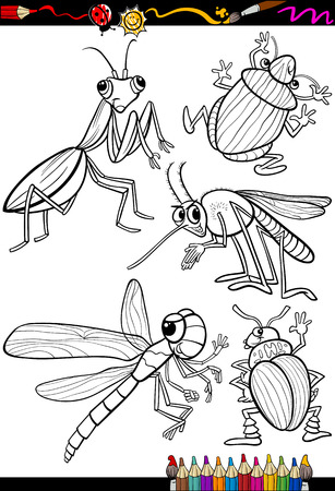 Coloring Book or Page Cartoon Illustration Set of Black and White Insects and Bugs for Children Vector