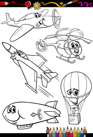 Coloring Book or Page Cartoon Illustration Set of Black and White Aircraft or Air Vehicles Characters for Children