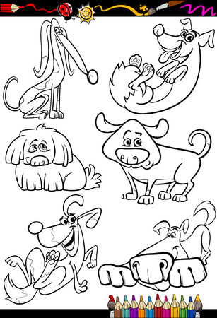 mongrel: Coloring Book or Page Cartoon Illustration Set of Black and White Dogs and Puppies Characters for Children Illustration
