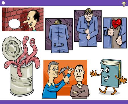 sayings: Illustratie Set van humoristische cartoon Concepts of Zeggen en Metaforen met rare tekens Stock Illustratie