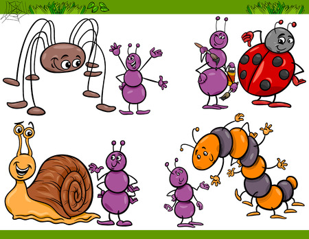 Cartoon Illustration of Happy Insects or Bugs Set like Ant or Ladybug or Harvestman and Caterpillar Vector