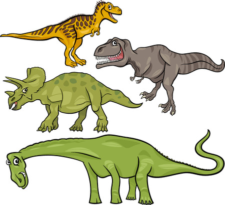 Cartoon Illustration of Dinosaurs Prehistoric Reptiles Characters Set Vector