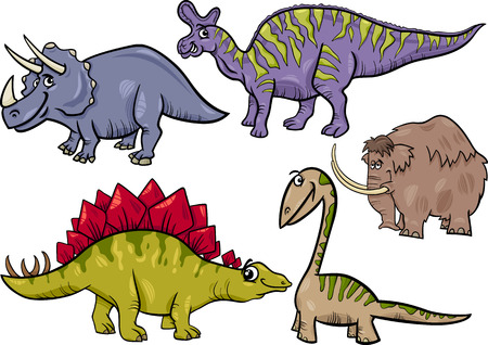 Cartoon Illustration of Dinosaurs and Prehistoric Animals Characters Set Vector